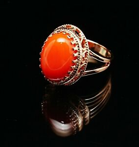 Red Coral Glass 14 Rose Gold Filled Large Oval Ring  6.5 M Soviet Classic