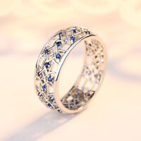 Fashion Sapphire Hollow Flowers Ring 925 Silver Women Wedding Party Jewelry Gift