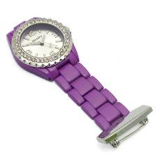 Henley Nurses Fob Watch Diamante Ceramic Look Purple 1.7