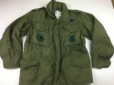 Vintage US ARMY M-65 Cold Weather Hooded Field Coat/Jacket Med Short Stained