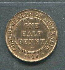 AUSTRALIA 1924 1/2 HALF PENNY GEORGE V VF + . ATTRACTIVE
