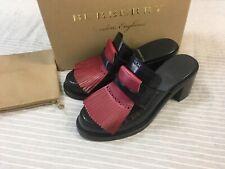 NEW Burberry Beckshill navy leather mule red fringe block heel loafer 5,5 38,5