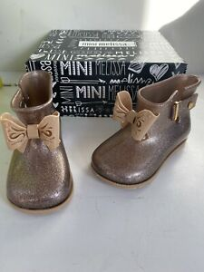 Mini Melissa girls Brown Glitter rain boots size 9 new
