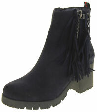 Ladies Keddo Navy Blue, Black Faux Suede Zipped Ankle Boots UK Size 3 4 5 6 7 8