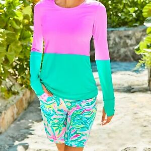 """Lilly Pulitzer NWT UPF 50+ Luxletic 9"""" Reid Shorts One In A Melon Golf Size 00"""