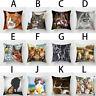 Soft Cat Printed Pillow Case Chair Cushion Cover Pillowcase Home Car Decorative