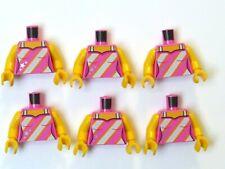 LEGO 6 Female Minifigure Torso Body Pink White Stripe Vest Top Star Design
