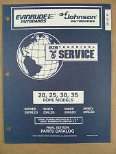 1996 OMC JOHNSON EVINRUDE ED 20 25 30 35 HP OUTBOARD MOTOR PARTS CATALOG 438196