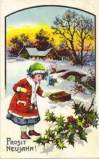Neujahr -Kind, Schlitten, Weihnachtskaktus, geprägte Litho-Glückwunschkarte