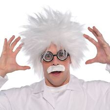 Adults Mad Scientist Costume Accessory Kit Wig Moustache Glasses Fancy Dress