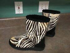 Women's UGG Zebra Pattern Hair & Leather Boots Shearling 1002790 Size 6 (CON17)
