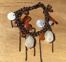 "DANGLE BEADING ""Bronze"" Beautiful Women's Sweet Fashion Chain Charm Bracelet"