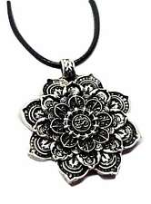 "Lotus Flower Mandala Om Mantra Pendant Silver Plated Buddhist 18"" Cord Necklace"