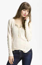 Free People Lace Snap Cuff Henley Long Sleeve Top Ivory S