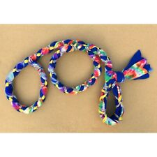 New listing Handmade Dog Leash Fleece and Paracord Slip-Lead Blue Tie-Die / Blue w Rainbow