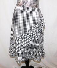 New! Nanette Lepore Nylon Blend Black & White Checked Ruffle Skirt....12