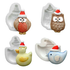 Silicone Moulds - Set Of Four Xmas - Duck - Owl - Bird - Robin - Food Safe