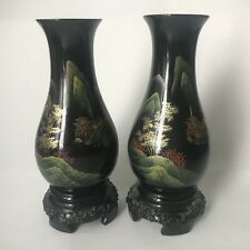 "Pair of Black Hand Painted Asian Oriental Vases - Plastic Lacquer Decor 7"" Tall"