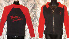 WOMENS SMALL S HARLEY DAVIDSON FULL ZIP SWEATER Embroid Letters BLACK ORANGE
