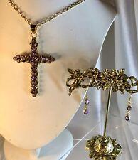 Amethyst Cross,Earrings 18ct Sterling, Val.$1,200 +