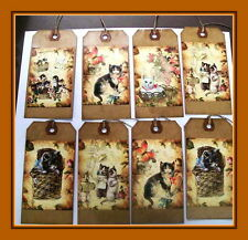 Playful Kitten And Cat Hang Tags - Set Of Eight - Adorable - Primitive
