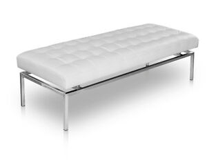 Bauhaus leather seating bench 109 cm length.Seat height 44 cm.Real leather white