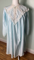 VTG SAK's Carole Hochman Long Satin Lace Nightgown Baby Blue Victorian Silky USA