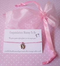 Rosa Momia Para Bebé Pies encanto deseo Amistad Pulsera bebé ducha regalo Y Bolsa