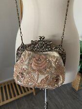 New listing Vtg Cream Ivory Beaded Sequin Bag Purse Clutch Evening Gold Handbag Floral