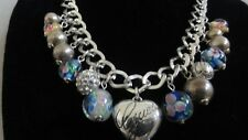 NEW GUESS POLISHED SILVER TONE MULTI CHARM PUFFY HEART GLASS RHINESTONE NECKLACE