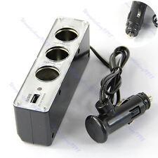Car Cigarette Lighter 3 Way Socket Splitter DC 12V Charger Adapter with USB