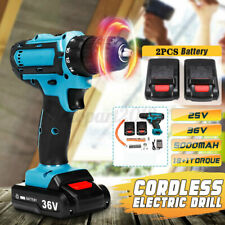 Electric Cordless Drill 2-Speed 18+1 Torque + 2 Battery Kit Screwdriver 36V Max
