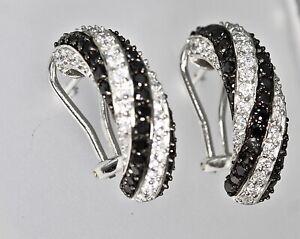 925 Sterling Silver Black White Animal Stripes CZ French Clip Earrings Handmade