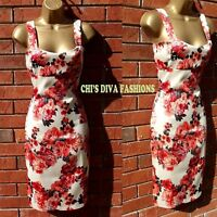 9954384d02 Retro Floral Printed Bodycon Evening Occasion Midi Wiggle Dress Sizes UK 8 -14
