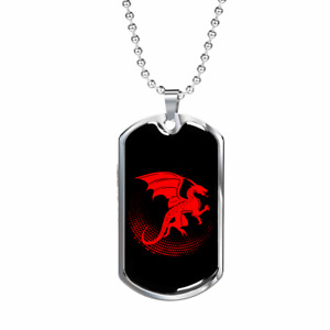 """Chinese Red Dragon Necklace Stainless Steel or 18k Gold Dog Tag w 24"""" Chain"""