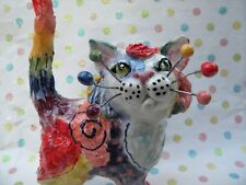 """MultiColor Cat """"Moon"""" - Original WhimsiClay by Amy Lacombe"""