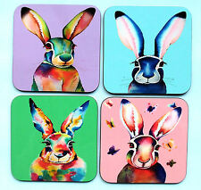 Set of four colourful HARE coasters by artist Maria Moss
