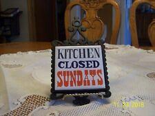 "Ceramic Vtg Wrought Iron Trivet ""Kitchen Closed Sundays"" Prince Made In Japan"