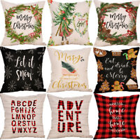 "18"" Christmas garland Sofa Throw Cushion Cover Soft Pillowcase Home Decor Gift"