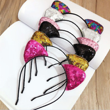 Sequins Cat Ears Headband Costume Cosplay Kids Girl Hair Band Party Halloween