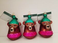 Christmas Tree Bear Hanging Glass Ornament Xmas Decoration