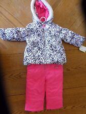NEW Carters Animal Print Pink Snowsuit Girls Size 5/6 NWT snow suit ski bib hood