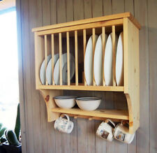 Kitchen Plate Rack Shelf, Solid Pine Wood, Wall Mounted Wooden !