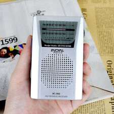 Small Pocket AM FM Radio Speaker Telescopic Antenna Earphone Jack SilverBI