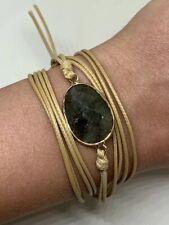NEW Boho Wrap Bracelet Natural Stone Labradorite Handmade Waxed Cord Button