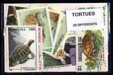 Tortues 25 timbres différents oblitérés