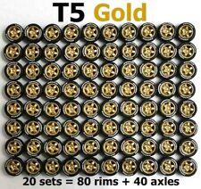 1/64 rubber tire - 5 spoke gold rim fit Hot Wheels Honda diecast car - 20 sets Z