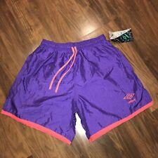 NOS Vtg UMBRO Soccer Shorts Purple Shiny Nylon neon 80s 90s NWT NEW Mens MEDIUM