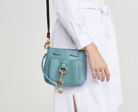 See By Chloe Tony Small Bucket Leather Shoulder Bag in Mineral Blue MSRP$375