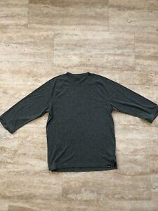 patagonia 3/4 sleeve mountain bike jersey shirt medium green polyester mens